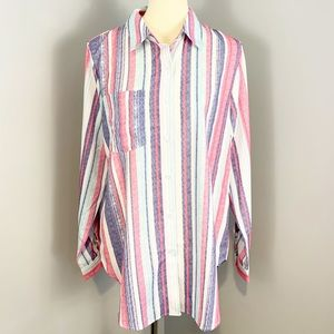 NWT Pink and Blue Striped Button Down Shirt